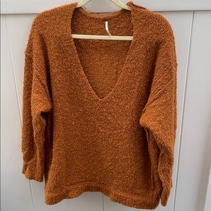 Rust Colored V Neck Free People Sweater